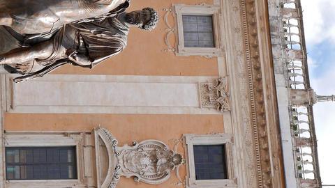 Vertical video. Statue of Marcus Aurelius and Comune Di Roma. Rome, Italy Live Action