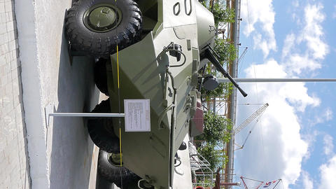 Vertical video. Armored personnel carriers. Pyshma, Ekaterinburg, Russia Footage