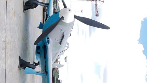 Vertical video. Tactical fighter Yak-9 model 1942. Pyshma, Ekaterinburg, Russia Image