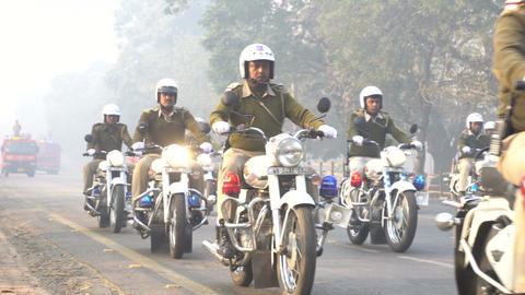 March past of Kolkata police - Motorbike rally 영상물