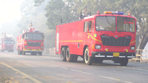 March past of India's Fire fighting trucks Footage