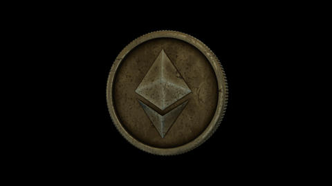 Realistic, Looped Spinning Ethereum Coin/Token With Alpha Channel GIF