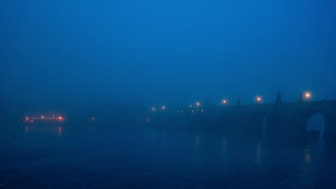 Early morning misty scene with famous Charles Bridge 영상물