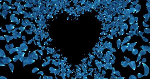 Blue Rose Flower Petals In Heart Shape Alpha Matte Placeholder Loop 4k CG動画素材