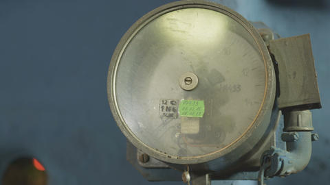 Pressure Meter with Arrow Fixed on Pipe Closeup Footage