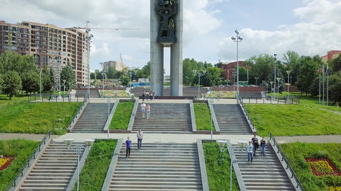 Monument Forever with Russia (Friendship of Peoples) Izhevsk Russia, From Dron, Footage