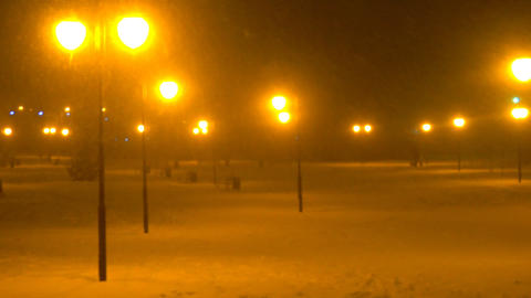 snowy Park with benches and lights by night,snow falling ,snowfall Footage