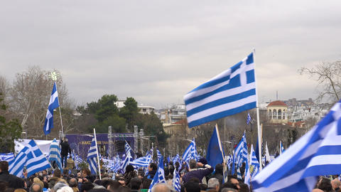 Thessaloniki, Greece protest against use of Macedonia in FYROM name dispute Footage