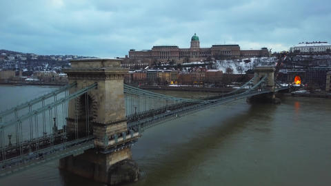 4K aerial footage about drone lift up at Szechenyi Chain Bridge Footage