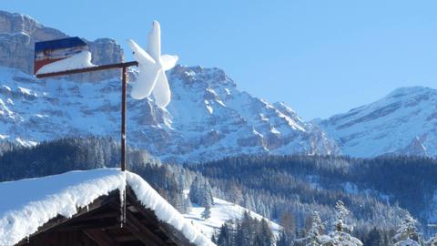 winter weather vane in Alta Badia, Italy Footage