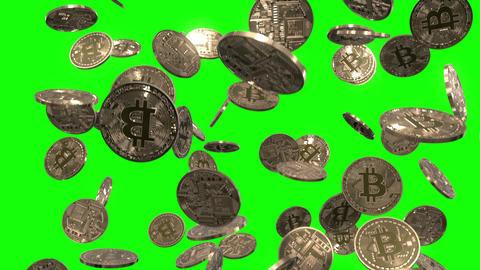 Raining Bitcoins on Green Animation