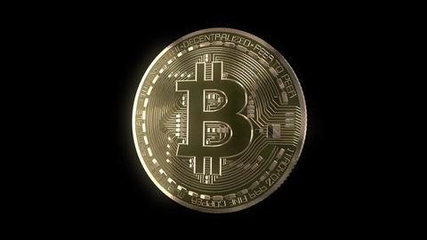 Bitcoin Spin on Black Animation