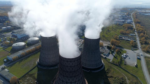 Aerial view: smoke from heavy industry factory Footage
