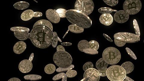 Raining Bitcoins on Black Animation