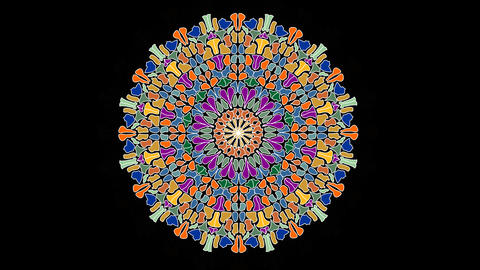 Varied live mandala on black background. Circle mandala with transition effect Animation