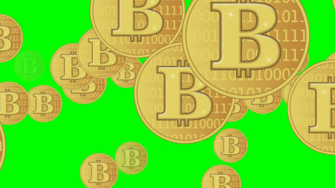 Bitcoin in gold flying on green screen, animated illustration Animation