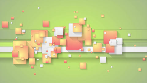 Abstract green orange motion background with squares Animation