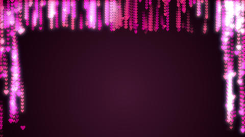 Pink purple hearts glow flow from top. Seamless loop motion of hearts Footage