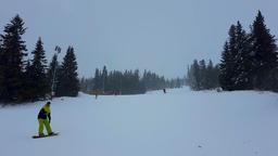 Nature, landscape. Tourists and riders on pistes of alpine ski resort. Aleko 영상물