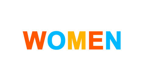 text WOMEN from letters of different colors appears behind small squares. Then Animation