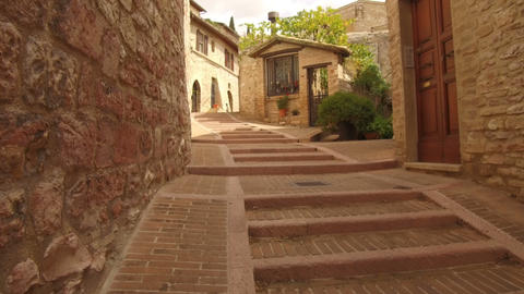 point of view walking in the alleys center, Assisi Footage