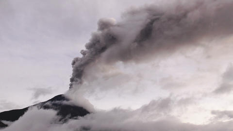 large quantity of volcano ash covers the skies over Tungurahua volcano Footage