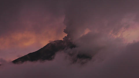 dramatic shot of Tungurahua volcano during 2016 eruption viewed trough high alti Footage