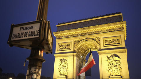Charles de Gaulle Place and Triumphs arch called Arc de Triomphe Footage