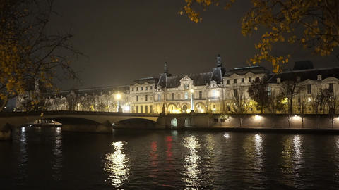 Romantic Paris by night with River Seine Footage