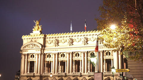 Famous Opera Garnier in Paris by night Footage