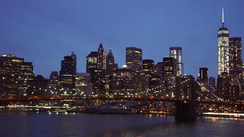 Amazing city lights of New York skyline by night - MANHATTAN, NEW YORK/USA APRIL Live Action