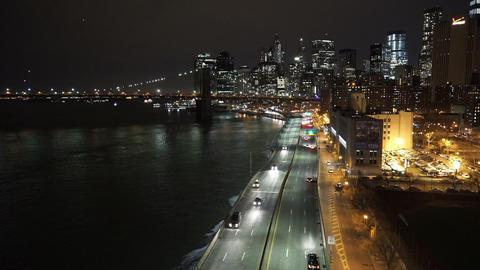Manhattan street traffic by night aerial view - MANHATTAN, NEW YORK/USA APRIL 25 Live Action