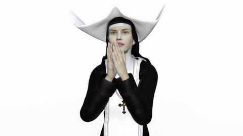 nun in prayer, animation, alpha channel Image
