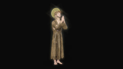 3d model in the image of Jesus praying with a glowing halo Animation