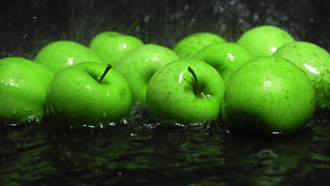 Green apples being washed Footage