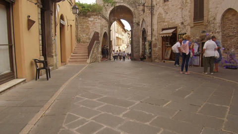 walking in the historic center of Assisi Footage