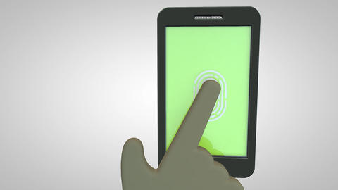 Scanning a fingerprint for security purpose on a smartphone Live Action