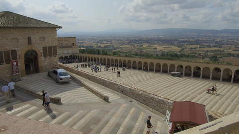 view from high basilica with pilgrims, assisi Footage