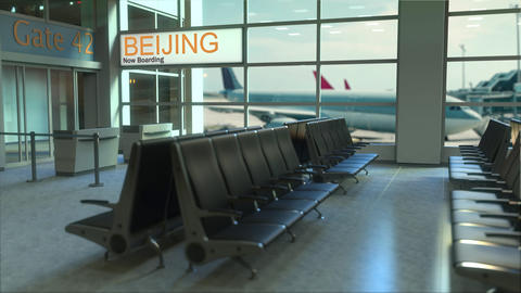Beijing flight boarding now in the airport terminal. Travelling to China Footage