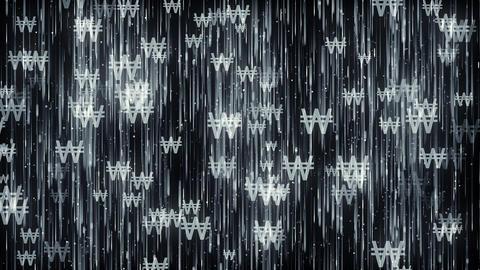 South Korean Won KRW Dark Background Animation