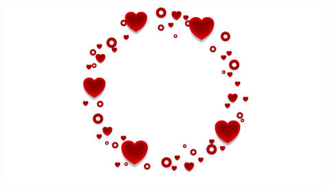 Red hearts St Valentines Day abstract video animation Animation