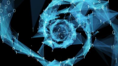 Motion Background Digital Binary Polygon Plexus DNA spiral 4k Loop Alpha Matte CG動画素材