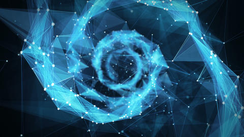 Motion Background Digital Polygon Plexus DNA spiral 4k Loop Animación