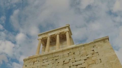 Clouds drifting of Greek ruins near Parthenon Footage