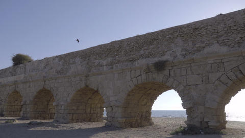 The Caesarea aqueduct in late afternoon Footage