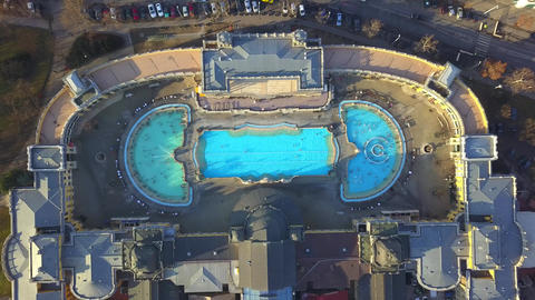 4K aerial drone footage of the famous Szechenyi Thermal Bath in City Park Footage