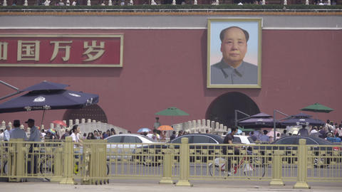 Picture of chairman Mao from Tiananmen Square Footage