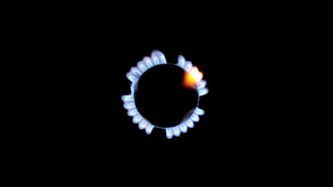 Flames of gas on a black background Footage