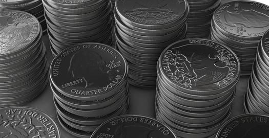 Stacks of silver coins Animation