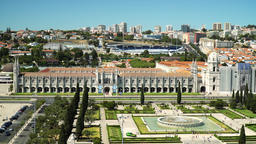 Aerial View Of Lisbon City Skyline And Jeronimos Monastery In Portugal Footage